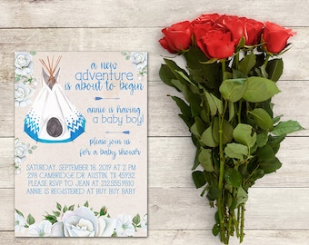 Teepee Baby Shower Invitation, Baby Shower, White Roses Invitation, Boho Invitation, Baby Shower Boy, Native American, Printable No. 2016