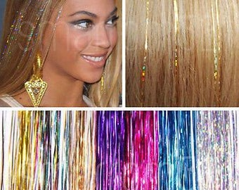 Holo Tinsel / EDC Hair Tinsel (rave music festival hair accessory, hair glitter)