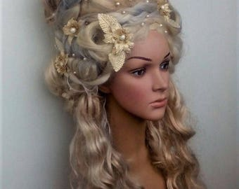 Blonde wig Marie-Antoinette wig Historical wig Rococo wig 18th century Decorated wig Styled wig with flowers Costume wig Cosplay headdress