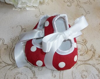Minnie Mouse Polka Dot Baby Shoes - Minnie Mouse First Birthday Outfit - Red and White Minnie Mouse Outfit - Minnie Mouse Shoes