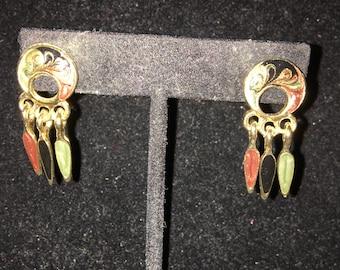 Pierced Dangle Earrings, Signed