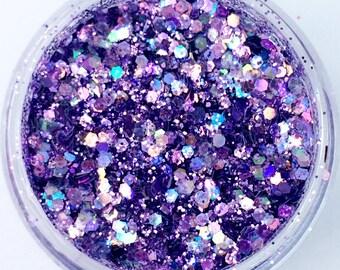 Periwinkle  Glitter No 86 - 3ml pot nail art crafting purple irridescent