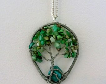Amazonite necklace, Amazon Stone pendant, Wire Tree of Life, Bonsai Pendant, Twisted wire Jewelry