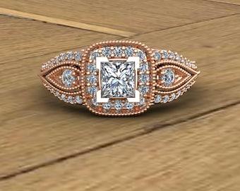 Diamond Engagement Ring - Princess Cut - Diamond Halo Engagement Ring - 14k Rose Gold - An Original Design by Charles Babb