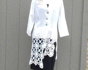 Altered Women's Linen Lacy and Crocheted  Doilies and Lace Appliqued Jacket, Magnolia Pearl Style, Size 10, Shabby Chic, Romantic Jacket