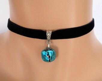 cat bell choker, black velvet choker, elasticated ribbon, jingle bell, turquoise bell