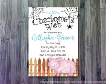 Charlotte's Web Birthday Invitation | Farm Invitation | KB54