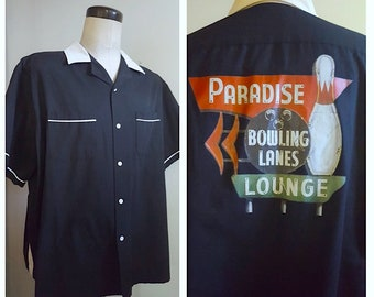 Retro Bowling Style Shirt / Black and White Paradise Bowling Lanes Lounge Bowling Shirt / Size XXLarge