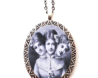 Three Headed Woman Necklace Pendant Silver Tone - Siamese Conjoined Twins Circus Sideshow Victorian
