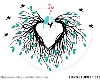 Heart nest digital clip art, wedding invitation, wedding tree, guest book, anniversary, houswarming party, PNG, EPS, SVG, instant download