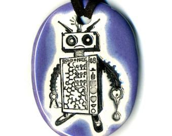 Robot Ceramic Necklace in Purple