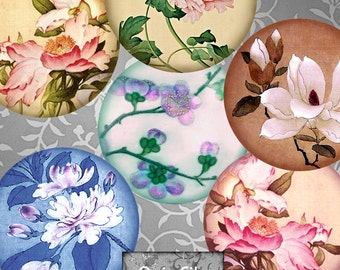 Printable  Floral  1.5 Inch Circles Digital Asian Flowers Printable Images Scrapbooking Pendants Magnets Stationery Collage Decoupage CS 423