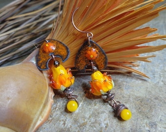 Boho earrings, copper enamel, flowers earrings Bohemian floral, lampwork, Lampwork oranges, country, women gift