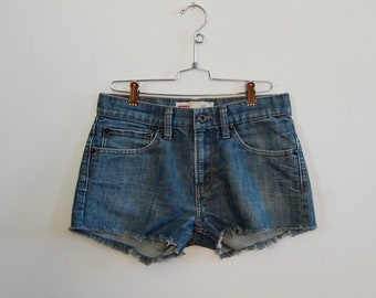 "Vtg Style Denim Cutoffs - Levi's Denim Cutoffs - Blue Jean Cut Offs - Size 28"" - Handmade Cutoff Jeans - Summer Fashion - Denim Shorts"