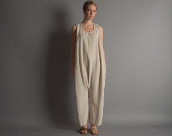 trading places oatmeal dropcrotch jumpsuit / linen jumpsuit / harem lounger / m / 888d