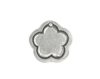 "2  Pewter 15/16"" x 15/16"" Flower with Border Stamping Blanks, Impress Art"