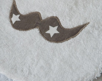 Bib 0-6months boy reversible mustache and star/white and taupe