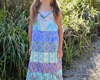 Girls maxi dress - girls dresses - girls boho dress - maxi dress - purple maxi dress -  Summer dress - blue maxi - boho flower girl dress