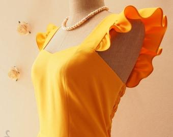 OLIVIA - Bright Mustard Yellow Dress Ruffle Sleeve Dress Yellow Party Dress Bridesmaid Reception Dress Summer dress -Size XS-XL