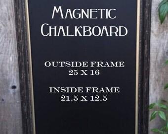 Large Black Framed Magnetic Chalkboard.. Office Chalkboard.. Chalkboard..  Magnetic Chalkboard