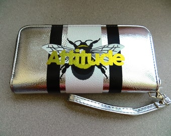 "For Sale - Bee Attitude - Bee ""Attitude"" Graphic Silver Wristlet Wallet - NWT ..... Christian, fashion, Blessed, Beatitudes, Jesus, Money"