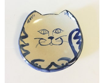 Vintage Blue and Beige Stoneware Hand Painted Smiling Cat Bowl