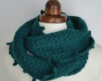 Crochet infinity scarf in soft wool and alpaca, rich teal colour, crochet cowl, winter accessory