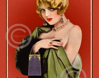 Art Deco Flapper Girl Print, Earl Christy, Sultry Blonde Beauty, holding  vintage purse, Jazz Age, wall decor, Giclee Art Print,11x14, 1920s
