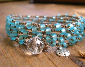 Aqua blue crochet wrap bracelet necklace - Tidal Pool - Boho crochet jewelry, sterling silver sand dollar dangle charm beach surfer bohemian