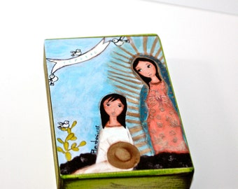 Our Lady of Guadalupe with Juan Diego - Aceo Giclee print mounted on Wood (2.5 x 3.5 inches) Folk Art  by FLOR LARIOS