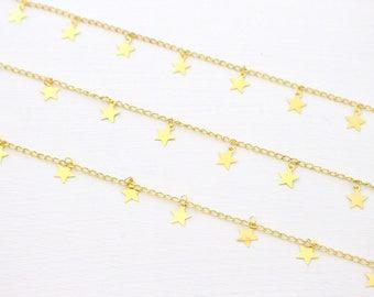 Chain Choker - Gold Star Burst // Gold Star Dangle