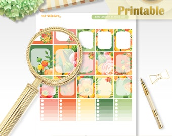 Watercolor flower printable planner stickers Erin Condren full box stickers floral summer planner stickers functional ECLP stickers cute