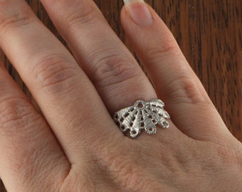 Bloom lace sterling silver ring