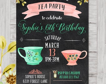 Tea Party Invitation, Bridal Shower Tea, Children's Tea Party, Watercolor Tea Party, Chalkboard Tea, Printable Tea Party Invitation, floral