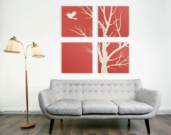 Modern Nature Canvas Print 4 Piece Art Set Square