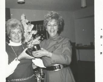 "Vintage Snapshot ""Not So Secret Santa"" Gift Exchange Christmas Tree Office 1970's Found Vernacular Photo"