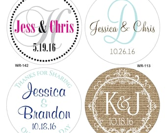 1080 - .75 inch Kisses Glossy Wedding Stickers - hundreds of designs to choose from - change designs to any color or wording