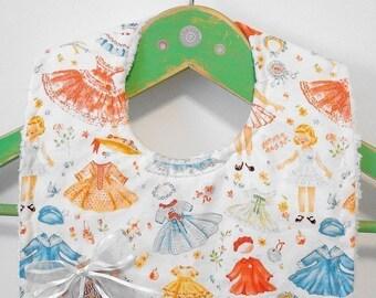 Vintage Paper Dolls - Minky Baby Bib