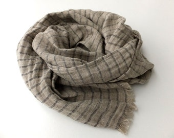black and grey striped pure linen scarf for men and women