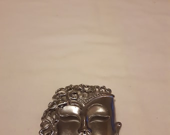 Vintage Thai/Asian Mask Brooch/Theatre Mask Brooch - Silver Tone - Defined Face Brooch - 1960s-Collectible/Birthday/Anniversary/Mother's Day