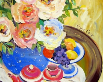 Tea for Two Original Painting canvas art 20 x 24 Fine art by Elaine Cory