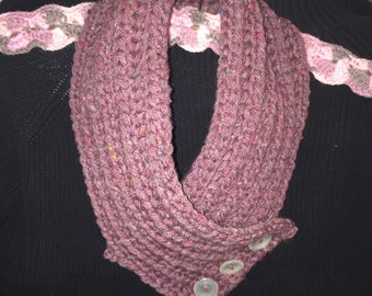 Burgundy multi cowl with buttons