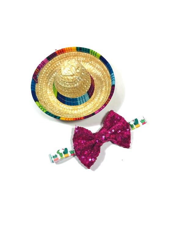 Sombrero + Bow Tie || Mini Sombrero || Dog Hat || Straw Hat || Mini Sombrero ||  Fiesta Party || Fiesta Hat