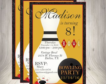 Bowling Invitation, Bowling Invite, Bowling Party Invite, Birthday Invitation, Bowling Party, Printable, Bowling Birthday, Bowling Ball,