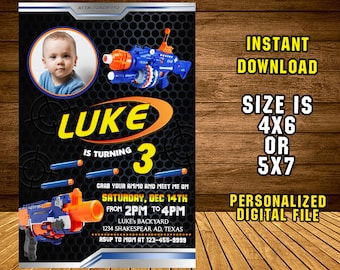 Nerf Gun Invitation/ Nerf Gun Birthday /Nerf Gun Party/ Nerf Gun Invite/ Nerf Birthday Invitation/ Nerf Party Invite/ F1233
