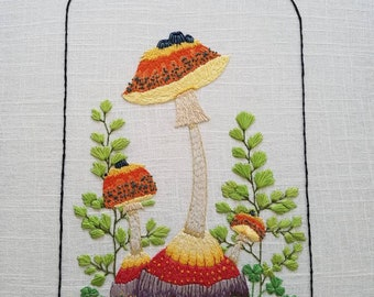 Fungus specimen hand stitched by Leah Murphy