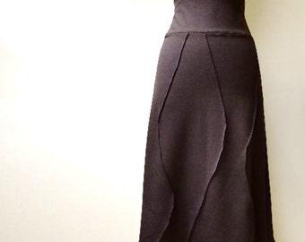 Long A-line skirt, organic cotton ankle skirt