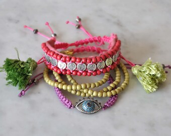Set of 3 Bracelets, Gypsy Hippie bracelets, Beaded Bohemian Bracelets, Free Shipping
