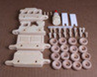 Handcrafted Mini Wooden 4 Piece Train Kit  212K