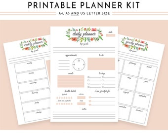 Planner Pack, Floral Printable Planners, Daily Planner, Flowers Planner, Weekly Planner, erin condren planner, Monthly Planner 2017, Planner